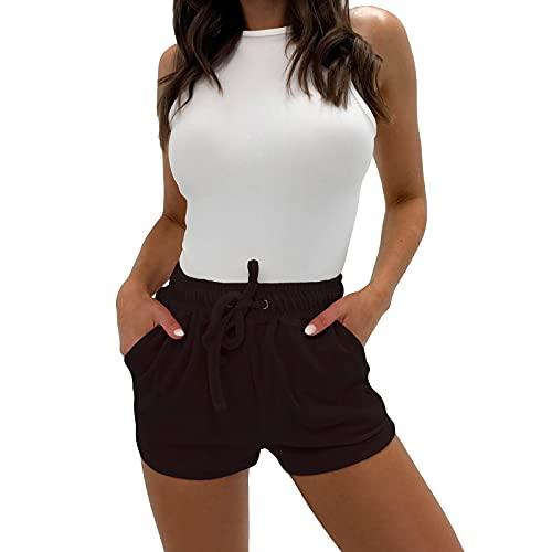 Pantalones Cortos Color Sólido de Terciopelo para Mujer Pantalón con Cinturón Elástico Ajustable Pantalones Deportivos con Bolsillos Laterales Shorts Suave y Cómodo Ejercicio Diario