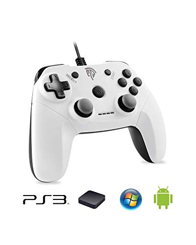 EasySMX EG-C3071 Wired USB Game Controller Joystick with Dual-Vibration Feedback for PC/PS3/TV Box/Android Phones (White)
