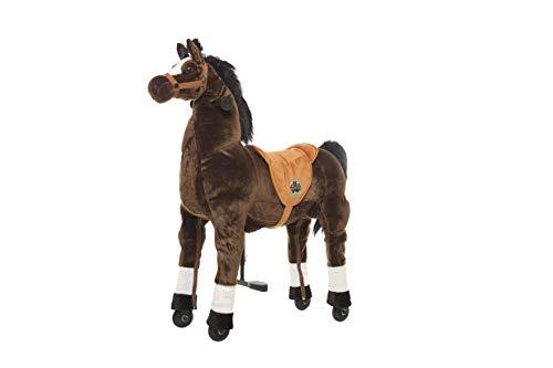 Animal riding ZRP002M Reitpferd Amadeus (für Kinder ab 5 Jahren, Sattelhöhe 69 cm, mit Rollen) ARP002M, Braun, M/L