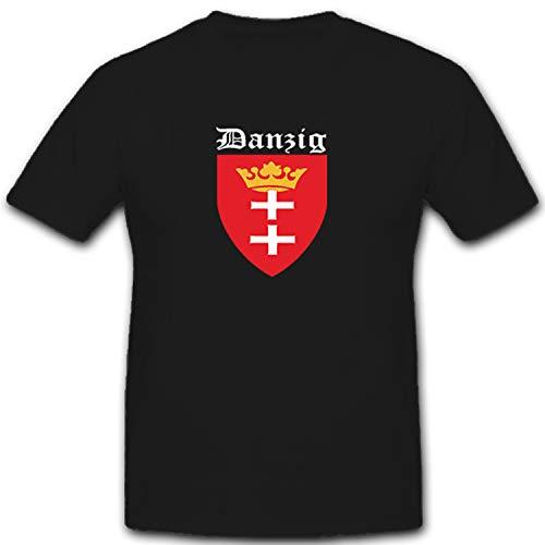 Danzig Großstadt Polen Wappen Abzeichen Emblem Fahne Flagge- T Shirt #5327, Größe:XL, Farbe:Schwarz