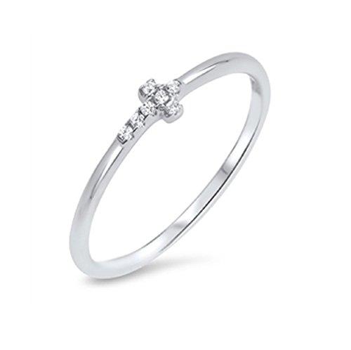 CloseoutWarehouse Cubic Zirconia Dainty Sideways Cross Ring Sterling Silver 925 Size 6