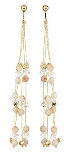 Pendientes de clip - chapado en oro pendientes con ágata rosa y cuentas de vidrio transparente - Ryo P por Bello London