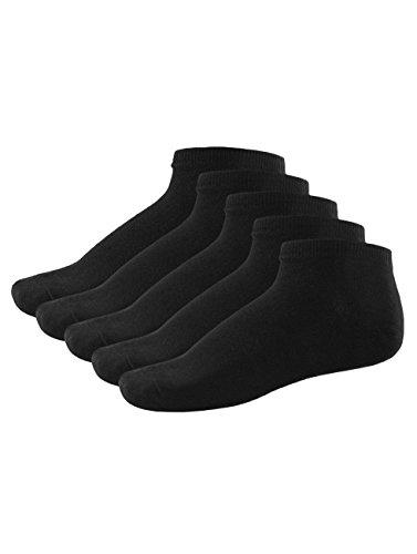 JACK & JONES Herren 5 Paar Dongo Baumwolle Füßlinge - Schwarz - One Size
