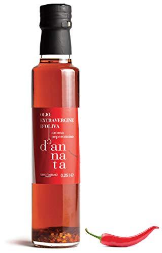 d'annata . Olivenöl extra vergine mit Chiligeschmack. n 1 Flasche cl 25. 100% Italienisch