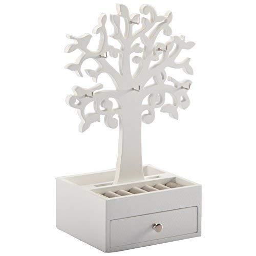 DRULINE Schmuckkasten Schmuckbox Beauty Box zur Aufbewahrung aus Holz mit 2 Ebenen Schublade und Deko Baum für Halsketten Armbänder und Ringe| L x B x H 14.8 x 13 x 31| Weiß
