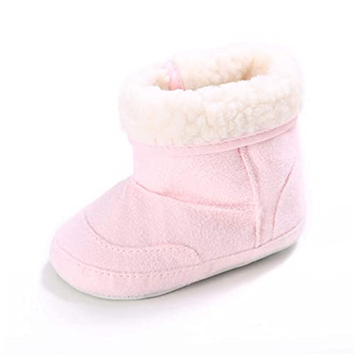 KGDC Baby Boys Girls Winter Boots Warm Boots Infantil Anti-Slip Primeros Zapatos for Caminar Soft Sole Slipper Boots (Baby Age : 7-12 Months, Color : Pink)