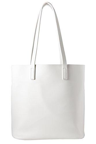 cecilia&bens Bolso   Shopper Mujer Grande   Bolso de hombro con bolsillo interior con cremallera 100% vegano   Diseño Berlín Blanco Talla única