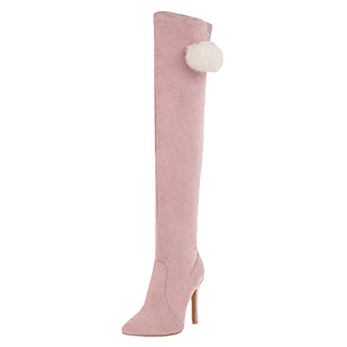MISSUIT Damen Spitze Overknee Stiefel High Heels Stretch Stiefel mit Stiletto und Fell Langschaft Stiefel Ohne Verschluss Schuhe(Pink,36)