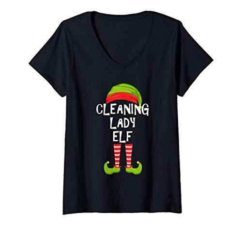 Mujer Dama de la limpieza Duende a juego con el pijama de la fiest Camiseta Cuello V