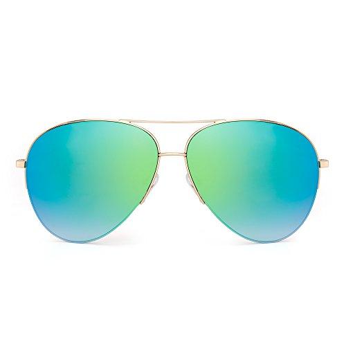JIM HALO Gafas de Sol Aviador de Espejo Retro Oversized Semi-Rimless Anteojos Mujer Hombre(Dorado/Verde Espejo)