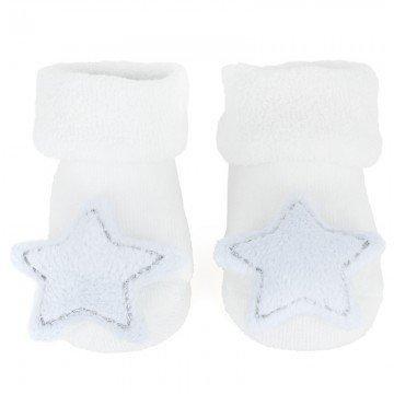 bam bam nouveau bébé Blanc hochet chaussettes avec bleu étoiles 0-3 mois