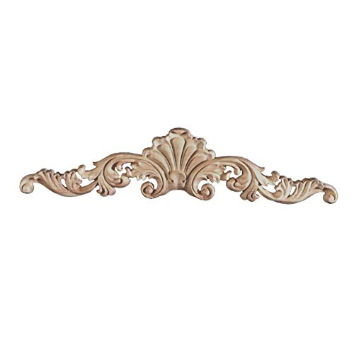 Sourcemall 4pcs Wood Curved Onlay, Leaf Center with Scrolls, Unpainted Wood Appliques for Home Door