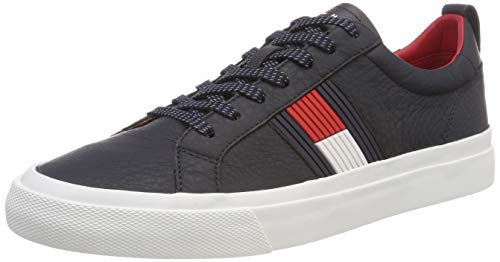 Tommy Hilfiger Herren Flag Detail Leather Sneaker, Blau (Midnight 403), 45 EU