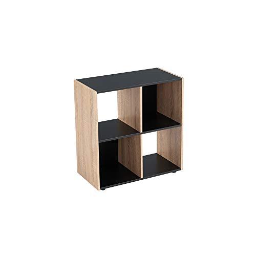 Estantería Cubo de Madera MDF Negra y Beige contemporánea, de 60x29x62 cm - LOLAhome