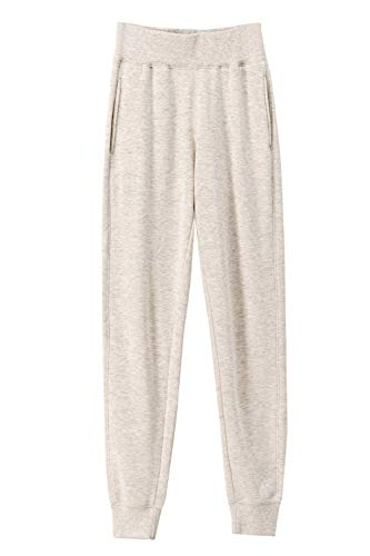 urbandaizy 983 Women's Wide Elastic Waistband Brushed Fleece Loose Fit Jogger Sweatpants Oatmeal L