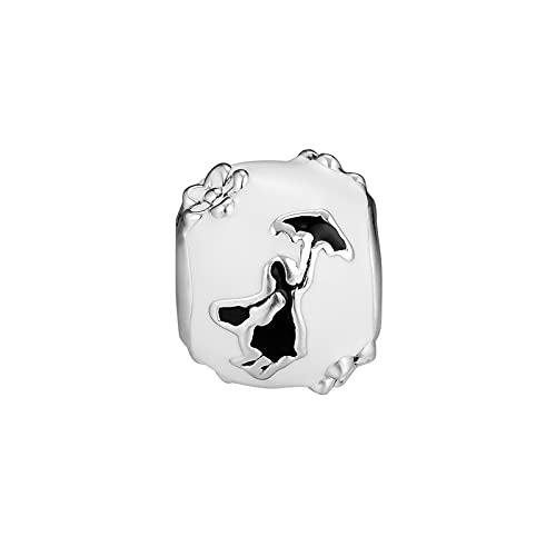 LISHOU DIY 925 Plata Esterlina Mary Poppins Silueta Esmalte Abalorios De Dibujos Animados Se Ajustan A Pandora Pulsera Collar para Mujer Joyería Que Hace Regalo