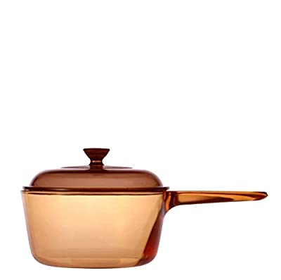 VISIONS 1 Litre Pyroceram Glass Saucepan, Brown