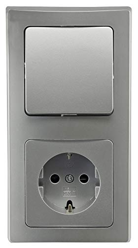 Delphi Steckdose mit Lichtschalter Komplett Set I 230V Schutzkontakt Steckdose mit Wechsel-Schalter 2-Fach Rahmen I Unterputz Einbau I Farbe Silber Grau