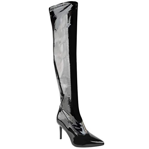Fashion Thirsty Heelberry Damen Sexy Lack High Heel Stiletto Stiefel Oberschenkel über dem Knie Fetisch UK, Schwarz - schwarzer lack - Größe: 40 EU