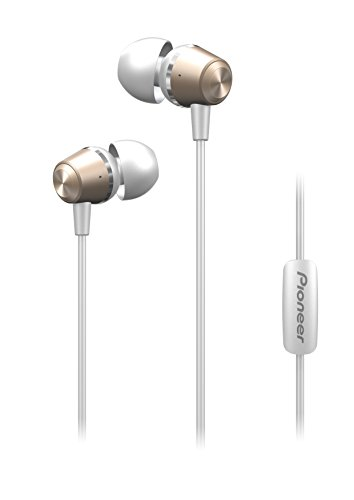 Pioneer SE-QL2T(G) In-Ear Kopfhörer (Aluminiumgehäuse, Ohrhörer, Bedienelement, Mikrofon/Freisprechfunktion, leicht-kompakt-bequem, für iPhone, Android Smartphones, Tablets), Gold