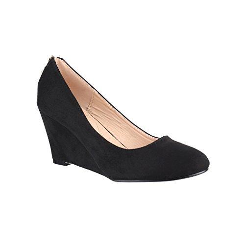 Elara Keilpumps Wedges Damen Pumps mit Keilabsatz Schuhe 7083-P Black-36