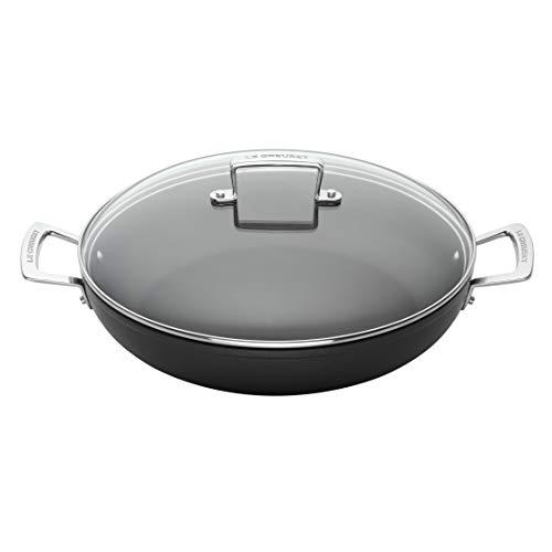 Le Creuset Cacerola de aluminio antiadherente con tapa, Ø 24 cm, libre de PFOA, para todas las fuentes de calor, incluso la inducción, antracita/plateado