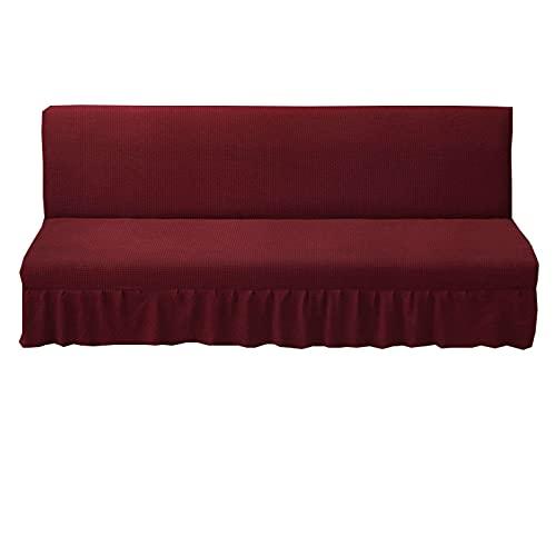 ZHFEL sin Brazos Funda para sofá con Falda,Elástica Protector de futón Antideslizante Lavable Funda Sofa Cama Jacquard Protector para Muebles para Plegable Couch Bench-Medio(61'-73')-Vino Tinto