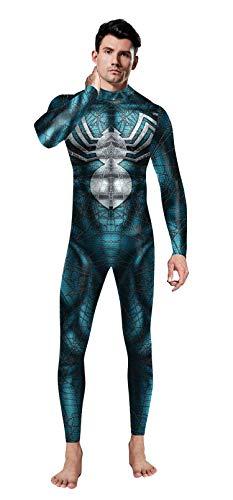NVHAIM Blue Spiderman Spider-Man Stealth Traje, Hombre Adulto Estirar Body Onesies Set Apretado Juego Anime rol Cosplay Disfraz Disfraz Fancy Dress Traje Spandex Escenario de pelicula,Adult L