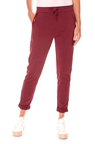 Easy Young Fashion Damen Hose Jogginghose Lang Sporthose Trainingshose Baumwolle Jogg Pants Sweatpants mit Seitenstreifen Bordeaux 38