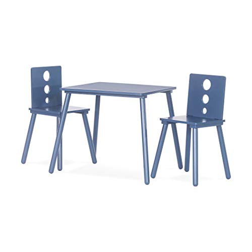 Forever Eclectic Cirque 3-Piece Wooden Kids Table and 2 Chair Set, Washed Denim Blue