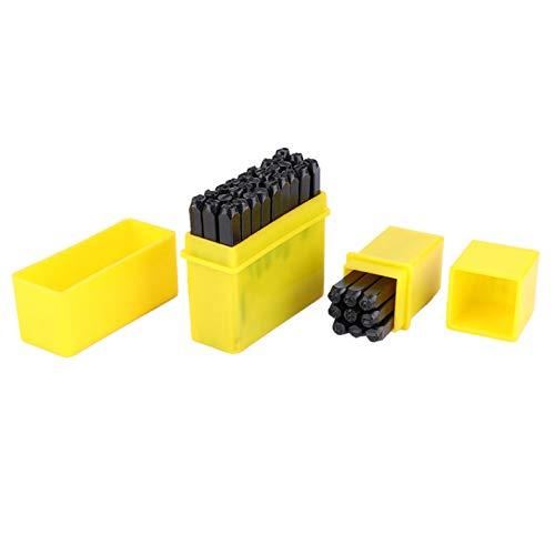 36 PCS 4/25 pulgadas (4 mm) Juego Perforadores Letras Numéricas Acero al Carbono Para Estampar Kit Herramientas Marcado Para Perforar Joyas Metal Cuero Madera Con Caja Almacenamie
