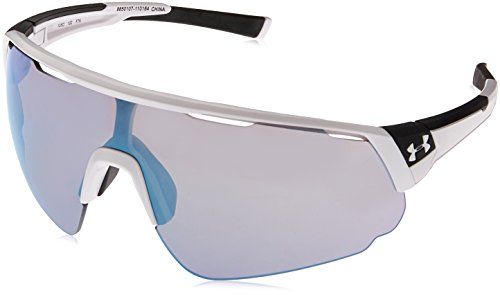 Under Armour unisex adult Changeup Sunglasses Sunglasses, Satin White Ua Tuned Baseball With Blue, X-Large US