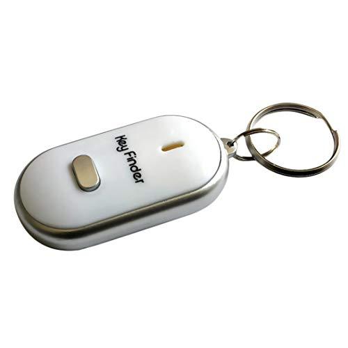 Sairis Anti-Perdu Key Finder Smart Find Locator Porte-clés Sifflet Bip Contrôle du son LED Lampe torche Clé de voiture portable (blanc)