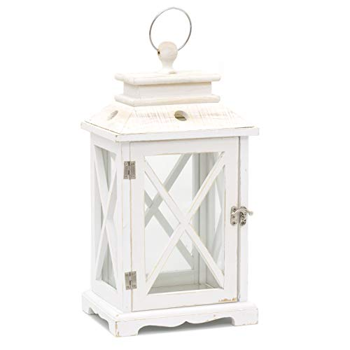 Distressed Whitewashed Wooden Hurricane Tealight Candle Storm Lantern