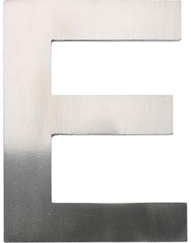 """Metall-Buchstabe """"E"""" aus gebürstetem Edelstahl – Höhe 8cm – Hausnummer, Zimmerbeschriftung, Bürobeschriftung, Türsymbol, Wandbeschilderung – rostfrei und selbstklebend ohne bohren"""