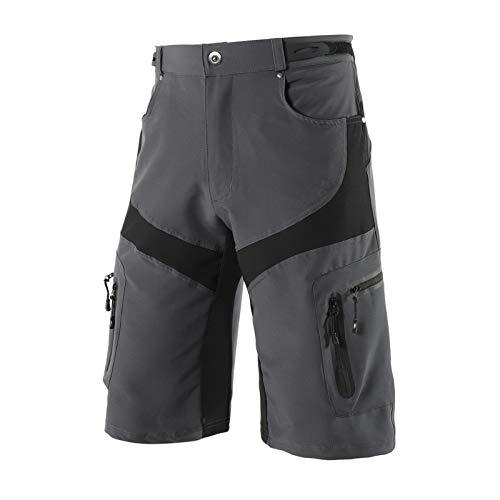Pantalones Cortos De Ciclismo Hombre Ligero, Bicicleta Montaña Bolsillos Holgados Transpirables, MTB Ropa Resistente Al Agua para Hombres Deportes Al Aire Libre,Gris,XXL