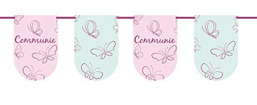 Folat Guirnalda de banderines de comunión niña, color rosa (22190)