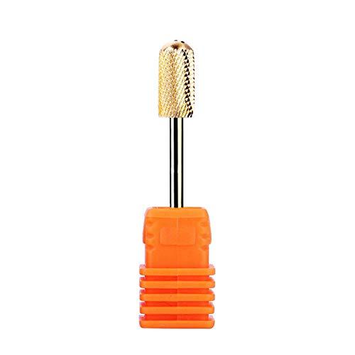YouU Premium Hartmetall Bit zylinderförmig Nagelmodellagen Maniküre/Pediküre/Hornhaut Professioneller Schleifkörper Für Nagelfräser Kopf abgerundet- Gold (Fein)