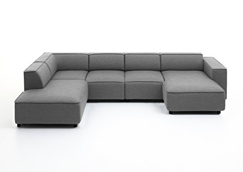 Atlantic Home Collection BULKY Wohnlandschaft Ecksofa, Récamière links, Stoff, hellgrau, 195 x 324 x 70 cm