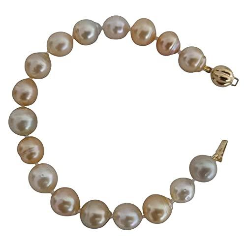 Pulsera de Mujer, Perlas Australianas Color Natural Dorado 9-10 mm Broche Oro Amarillo 18K