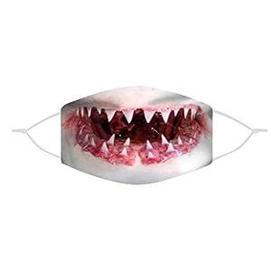 ZWXIN Tricky Dress Up Gruselige HaifischzäHne Gesicht Dekoration Party Requisiten Halloween Lustig Bedrucktes Kopftuch Staubdicht Sonnencreme Atmungsaktiv Reiten