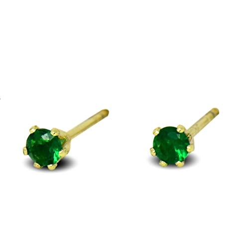 Blue Diamond Club - Tiny 9ct Yellow Gold Filled Womens Stud Earrings Girls Round Small 3mm Emerald Green Crystals 6 Claws