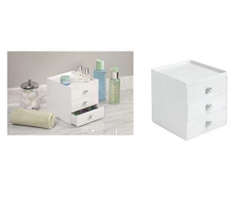 InterDesign Drawers organisateur de maquillage, boîte de rangement en plastique pour make-up & Cie., boîte à tiroir avec 3 tiroirs, blanc