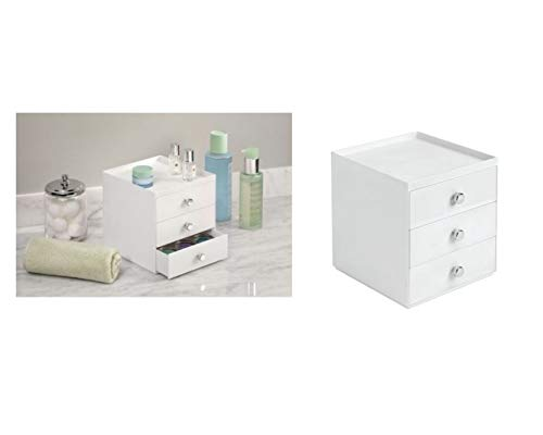 iDesign Drawers Make-Up-Organizer mit 3 Schubladen, hochwertige Aufbewahrungsbox für Schminke, Kosmetika & Co, Kunststoff, weiß