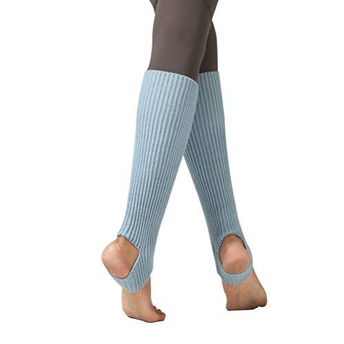 Taigood Damen Mädchen Ballettstulpen mit Fersenloch Beinwärmer Ballett Stulpen Legwarmer Armstulpen ca. 43 cm 80er Jahre 1980er Jahre Hellblau One size