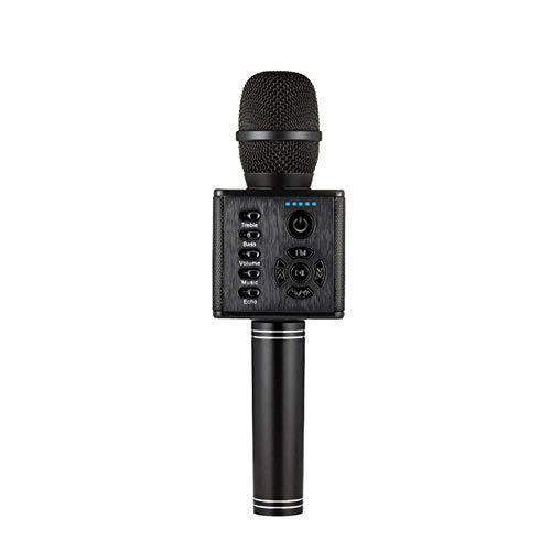 Sntsya draadloze karaoke-microfoon, draagbaar, draadloos, met controlelampje, bluetooth-luidspreker voor smartphone, ideale ondersteuning om thuis te sturen, Zwart