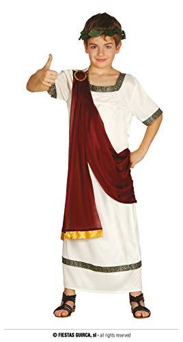 FIESTAS GUIRCA Römischer Kaiser oder Griechischer Gott - Jungen Kostüm | Alter 5 - 6 Jahre | in Weinrot u. Weiß mit goldenen Verzierungen - für Karneval / Fasching oder Themen Party - Alter 5 - 12 Jahre