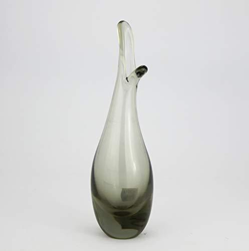 Holmegaard Per Lutken glas Retro vintage glas vaas - 50/60 - Eend vaas ontwerp. Afmetingen: 170 gr. 16 cm hoog en 4,5 cm diameter. Kleur: Gerookt - Tweedehands artikel