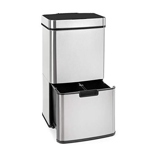 Klarstein Touchless – cubo de la basura de acero inoxidable con sensor, 72 litros con 4 compartimentos: 43 y 2 x 12,5 litros, cubo bio con tapa: 4 litros, apertura y cierre automáticos, plateado