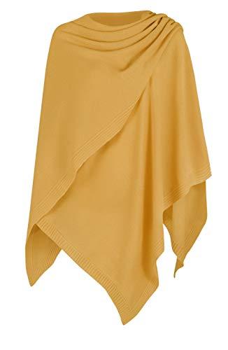 Mikos* Damen Poncho Strick Strickpullover Eleganter Pulli Long Mantel Herbst Winter Viele Farben Eine Größe (991) (Curry)